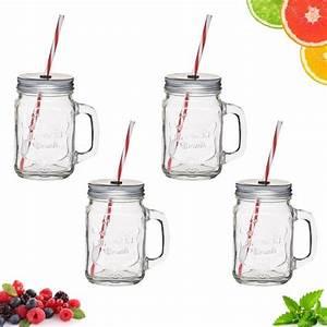Mason Jar Paille : mug verre mason jars avec paille homemade x4 ~ Teatrodelosmanantiales.com Idées de Décoration