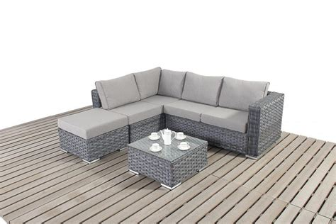 Corner Loveseat Small by Platinum Small Grey Rattan Corner Sofa Homegenies