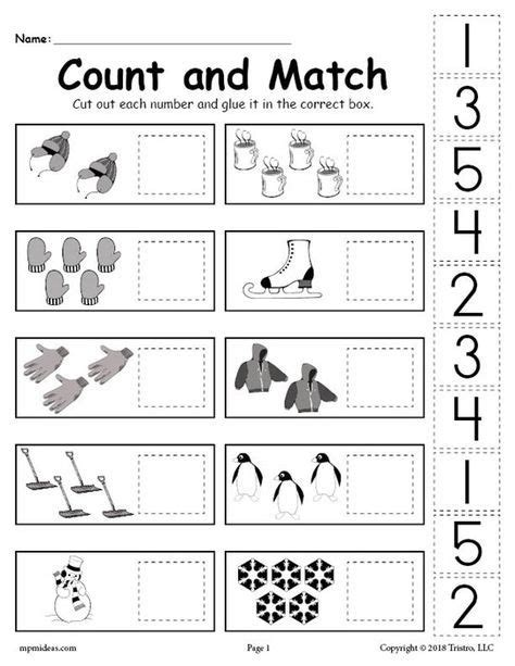 free printable winter counting and matching cut and paste 608 | 53d37746d7d050ecce0e21893f22dd67
