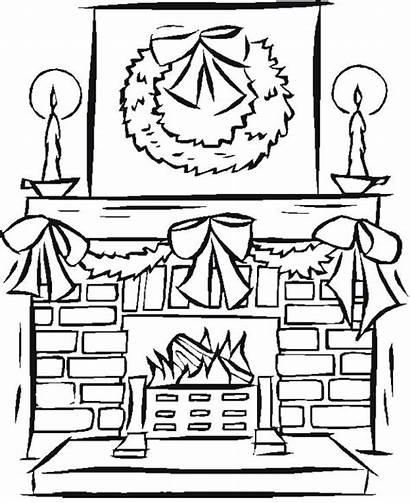 Fireplace Coloring Christmas Pages Drawing Fire Printable
