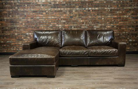 Maxell Deep Seat Leather Chaise