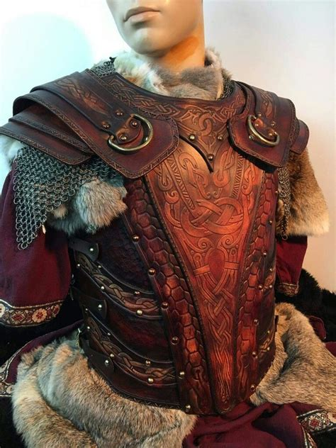 stunning leather armor  chainmail  fur accents