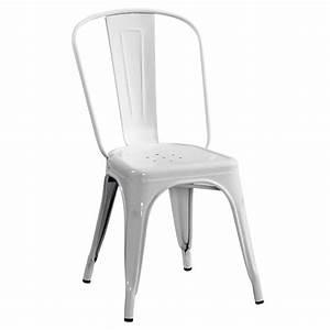 Chaise Metal Tolix : chaise a de tolix acier laqu blanc ~ Teatrodelosmanantiales.com Idées de Décoration