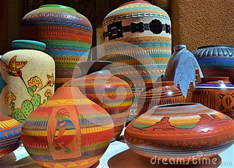 brightly colored southwestern ceramic clay pottery stock