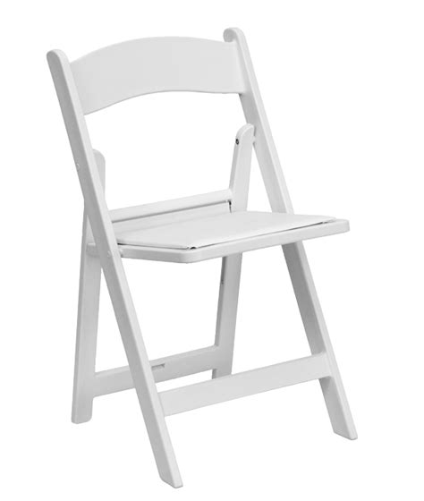 white folding wedding chair with pad all seasons rent all