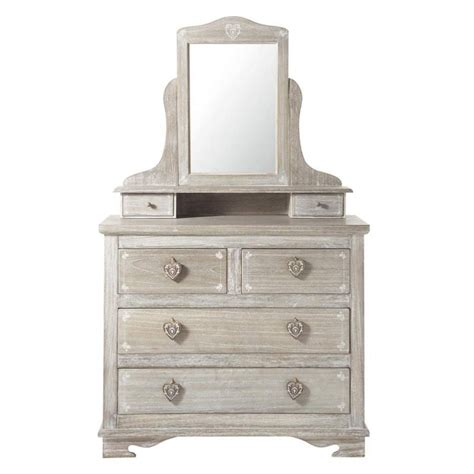 miroir chambre ado coiffeuse en bois de paulownia grisée l 95 cm camille