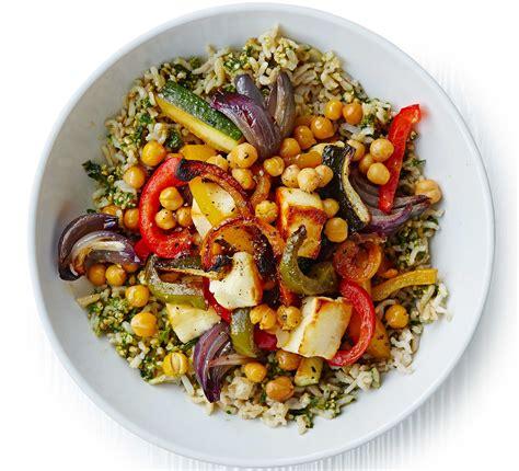 herby rice  roasted veg chickpeas halloumi bbc