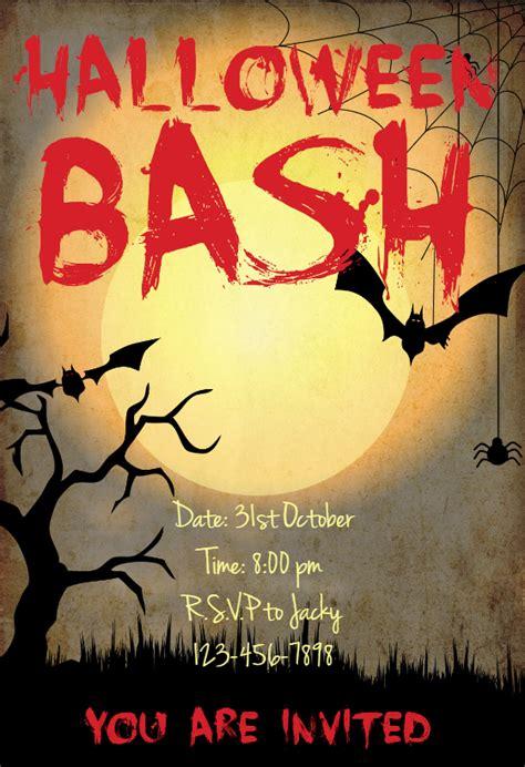 halloween bash halloween party invitation template