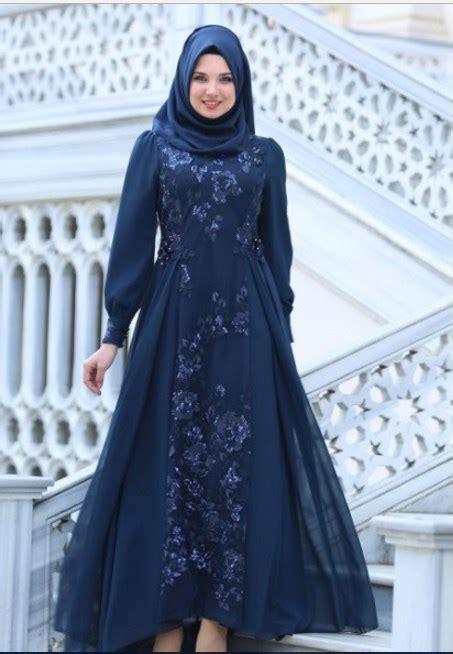 model busana muslim pesta modern elegan mewah gambar