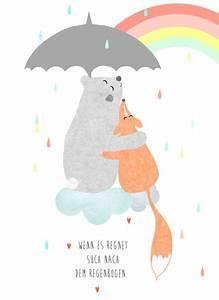 Kinderbilder Fürs Kinderzimmer : kiderbild kinderposter wenn es regnet such wanddeko niedlich und fuchs ~ Markanthonyermac.com Haus und Dekorationen