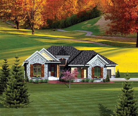 ranch style house plan    bed  bath  car garage   country style house