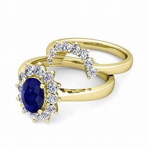 diamond and sapphire diana engagement ring bridal set 14k With diamond and sapphire wedding ring sets