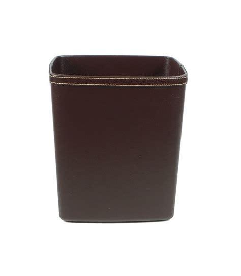 corbeille à papier de bureau en similicuir marron