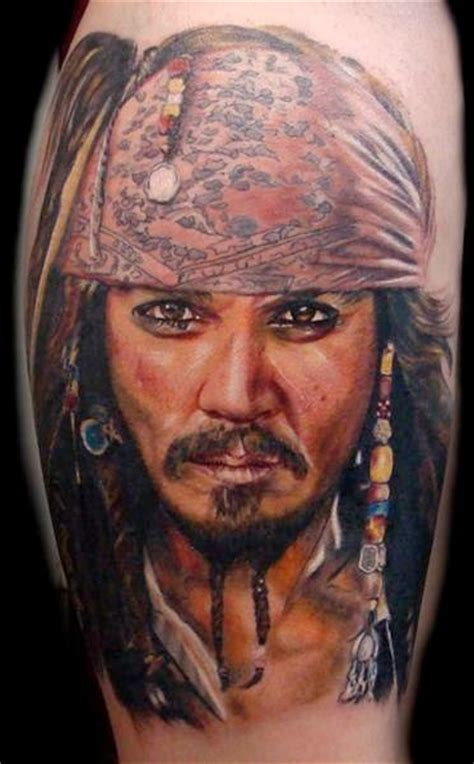 shoulder portrait realistic johnny depp tattoo  ron russo