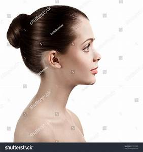 Portrait Profile Charming Woman Bared Shoulders Stock