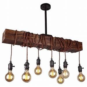 Light wood beam chandelier whoselamp