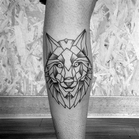 geometric wolf tattoo designs  men manly ink ideas