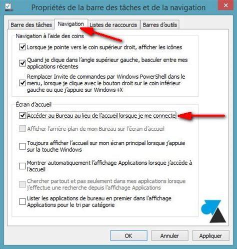 mode bureau windows 8 démarrer windows 8 1 directement sur le bureau