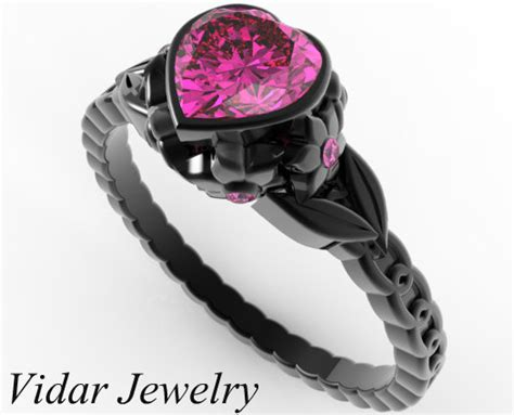Pink Sapphire Heart And Flowers Black Gold Engagement Ring