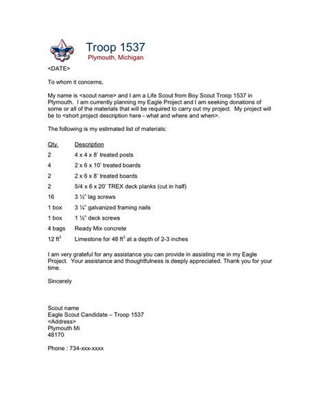 Troop 908 Boy Scout Letterhead Templates by Eagle Scout Project Donation Request Letter Google