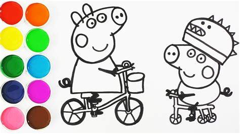 como dibujar  pintar  george  peppa pig en bicicleta