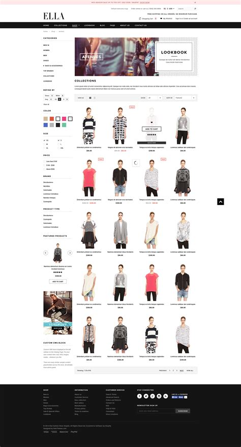 Shopify Templates Ella Responsive Fashion Shopify Template Sections Ready