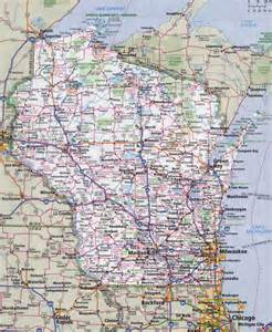 Wisconsin Road Map with Cities