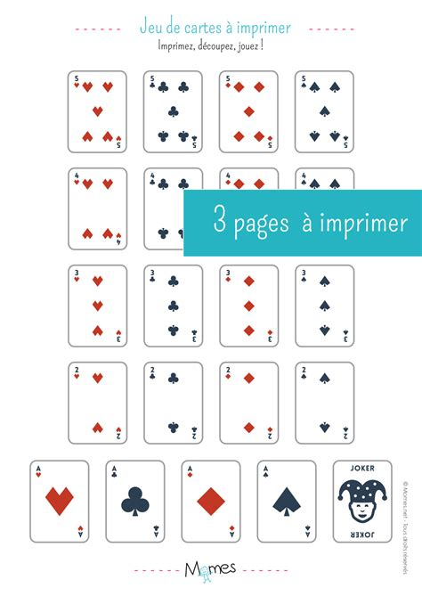 Carte De à Imprimer jeu de 54 cartes 224 imprimer momes net