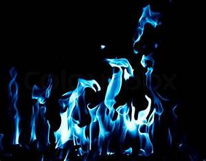Blue flame fire on black background | Stock Photo | Colourbox