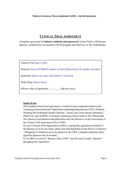 template clinical trial agreement