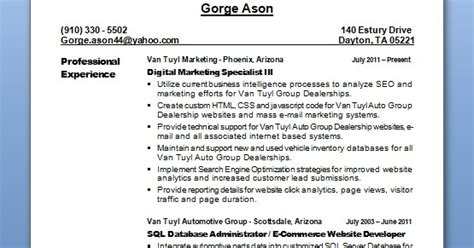 digital marketing specialist sample resume format  word