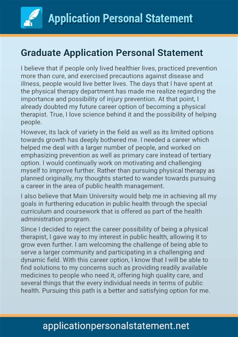 our professional application personal statement exles