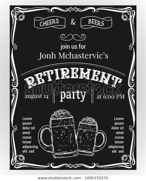 Retirement Party Invitation Design Template Glasses Stock