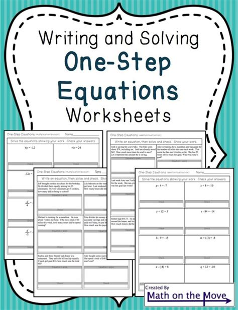 Onestep Equations Worksheets (including Word Problems)  Equation, Words And Solving Equations