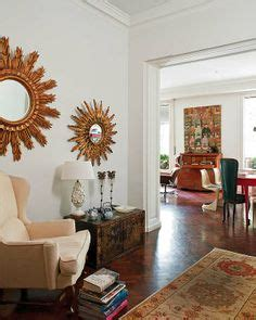 how to decorate white walls wall color on pinterest white walls sunburst mirror and oriental rugs
