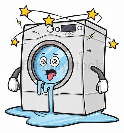 Washing Machine Cartoon Broken Clipart Leaking Friendlystock