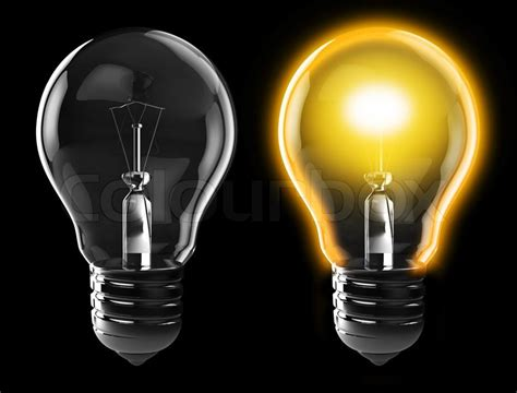 3d illustration of light bulb power on and power