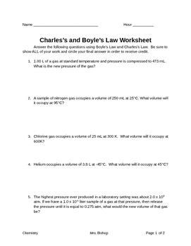 charlesboyles law worksheet  leahs chemistry corner tpt