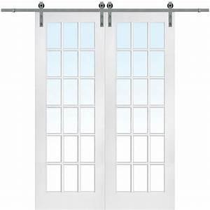 lemieux 60 in x 96 in primed 18 lite door with barn door With 60 inch barn door hardware
