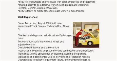 resume sles diesel technician resume sle