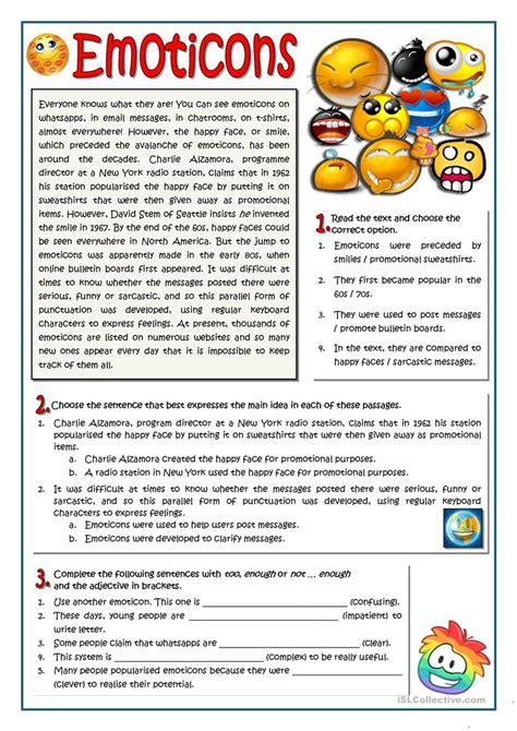 emoticons worksheet  esl printable worksheets