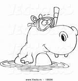 Hippo Coloring Cartoon Snorkeling Vector Swimming Pages Outlined Super Hippopotamus Elephant Royalty Clipart Leishman Ron Sheet Sheets Summer sketch template