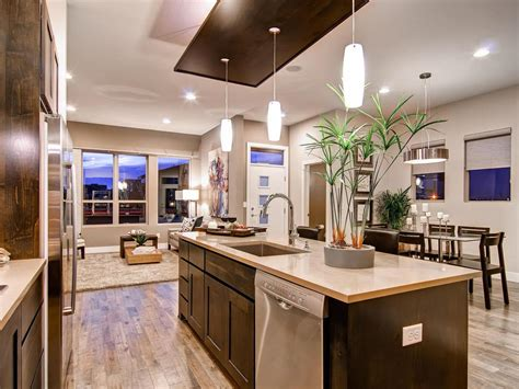 L Shaped Kitchen With Island Design — Railing Stairs And