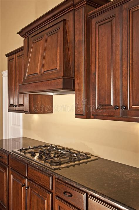 modern kitchen cabinets range hood stock photo image