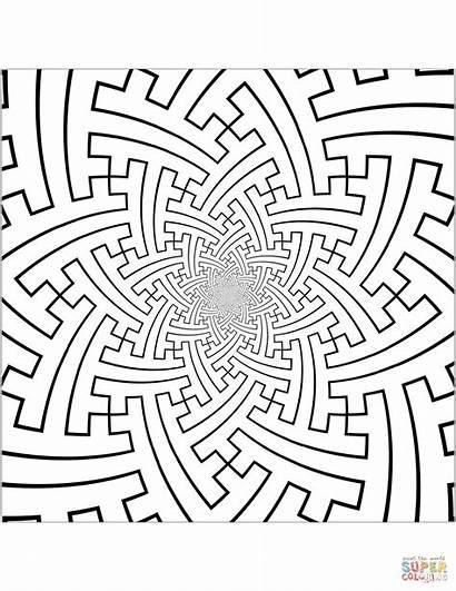 Coloring Pattern Pages Sayagata Conformal Tessellation Printable