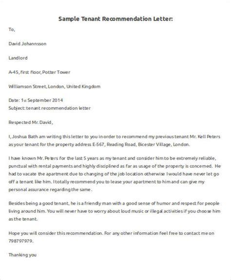 tenant recommendation letter luxury tenant recommendation letter cover letter exles 29047