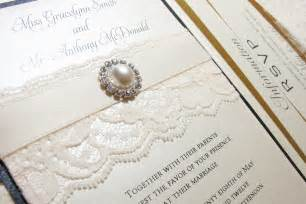 fancy wedding invitations traditional wedding invitations with lace pearls onewed