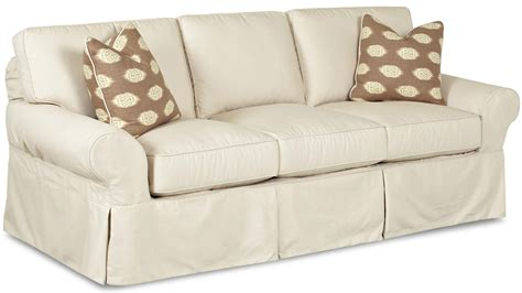 Slipcovered Sofa by Slipcovered Sofa With Rolled Arms And Tailored Skirt By