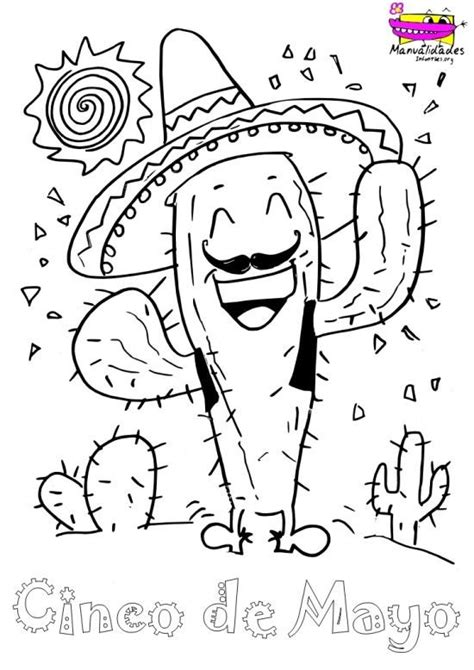 Cactus Mexicano para colorear el 5 de Mayo | Cactus ...