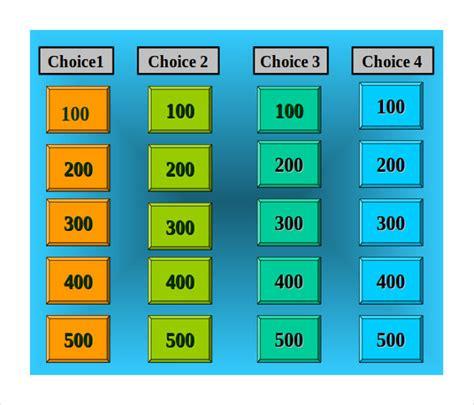blank jeopardy templates  sample  format